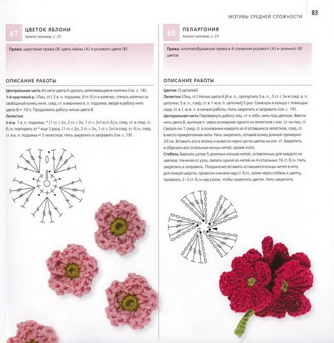 100 вязаных цветов спицами и крючком (80) (681x700, 257Kb)