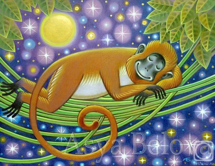 Спящая обезьянка.  Белова Ася.