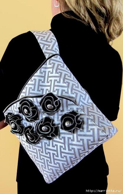 Как сшить стильную сумку с цветами из молний. Мастер-класс (1) (417x656, 149Kb)