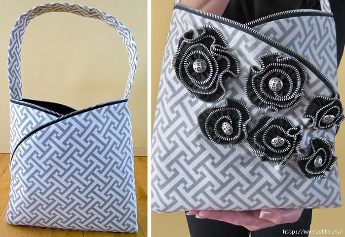 Как сшить стильную сумку с цветами из молний. Мастер-класс (27) (700x480, 293Kb)