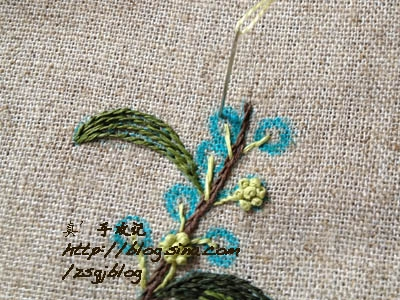 Фото мастер-класс по вышивке веточки мимозы (11) (400x300, 164Kb)