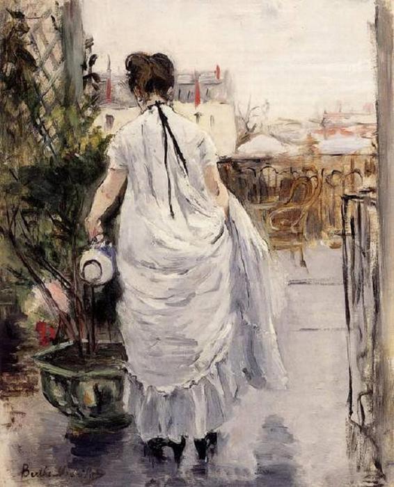 Berthe Morisot (1841-1895).Young Woman Watering a Shrub - (566x700, 72Kb)