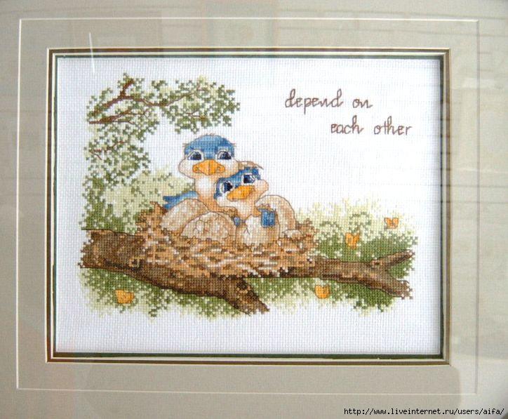 Птички в гнезде вышивка крестом