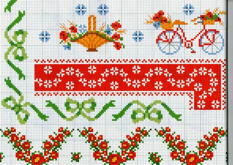 Схемы вышивки крестом бордюры уголки