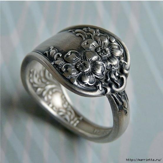 Как сделать кольцо из серебряной ложки (6) (554x554, 167Kb)
