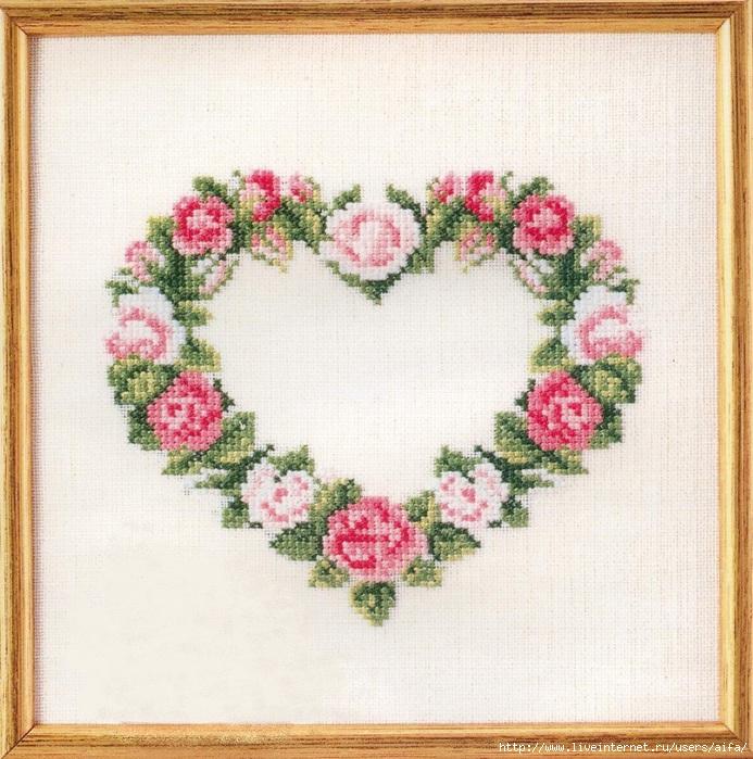 Схемы для вышивки крестом венки из роз