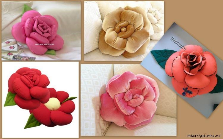 Выкройке подушки розы