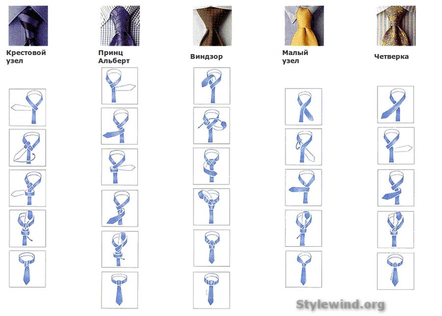 завязывания галстуков,