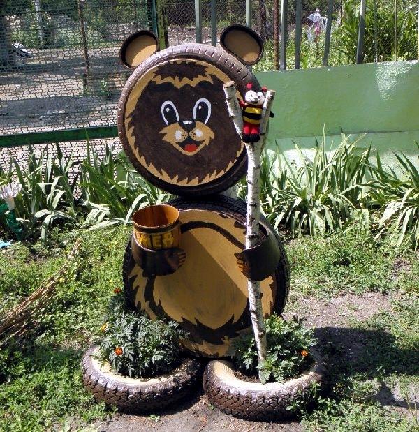 Мишка своими руками для сада