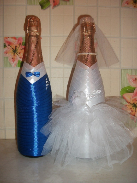 Бутылка шампанского жених и невеста на свадьбу своими руками 74