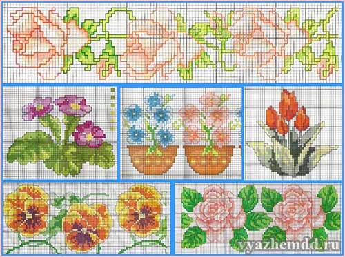 схемы вышивки цветов: роз,