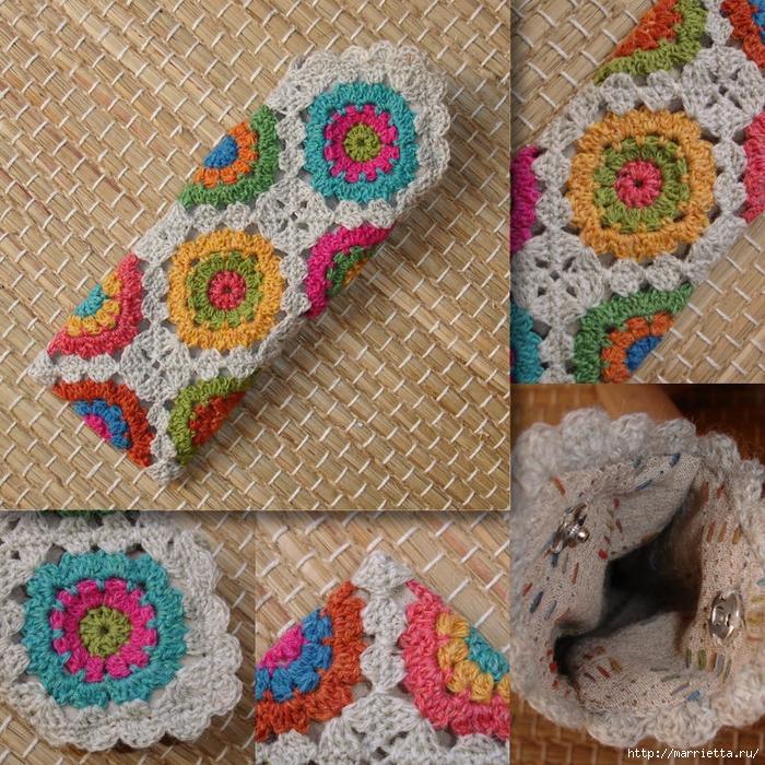 Вязание крючком. Цветочный чехол для очков. Схема (2) (700x700, 542Kb)