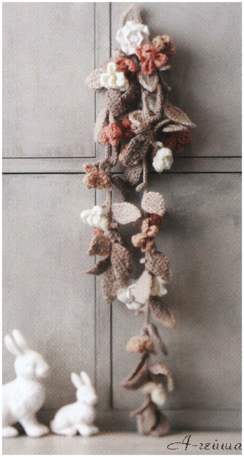 Шарфы с цветами - вязание