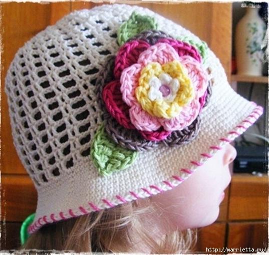 летняя шляпка для девочки крючком (537x511, 187Kb)