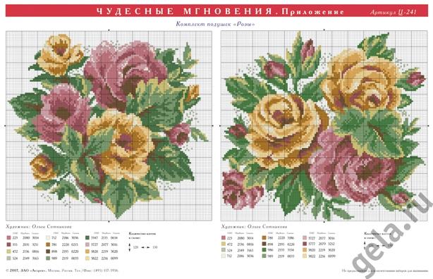 схема роз и цветов вышивка крестиком подушки упомянуть, что