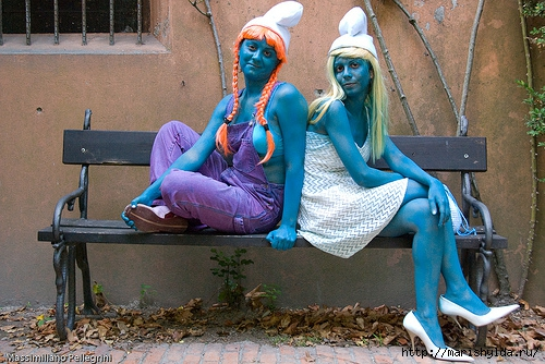 Blue cosplay smurf girl gets a deep pussy pounding from evil Gargamel № 920536 загрузить