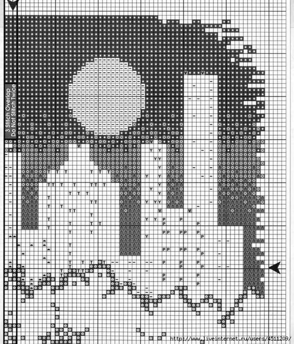Схема вышивки ночной город сделай своими руками
