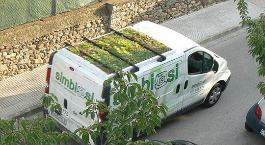 Испанский автобус с клумбой на крыше