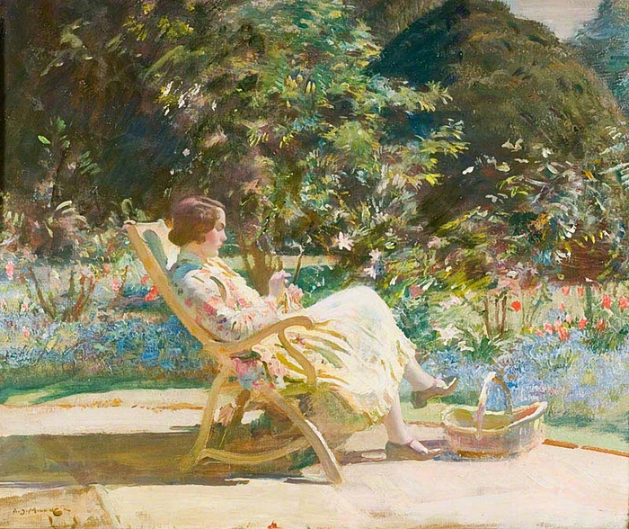 Alfred James Munnings1Violet, My Wife, in the Garden  (700x588, 409Kb)