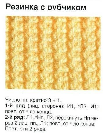 Вязание резинки рубчик спицами 64