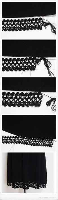 Как удлинить или украсить подол юбки крючком. Схема (1) (205x700, 90Kb)