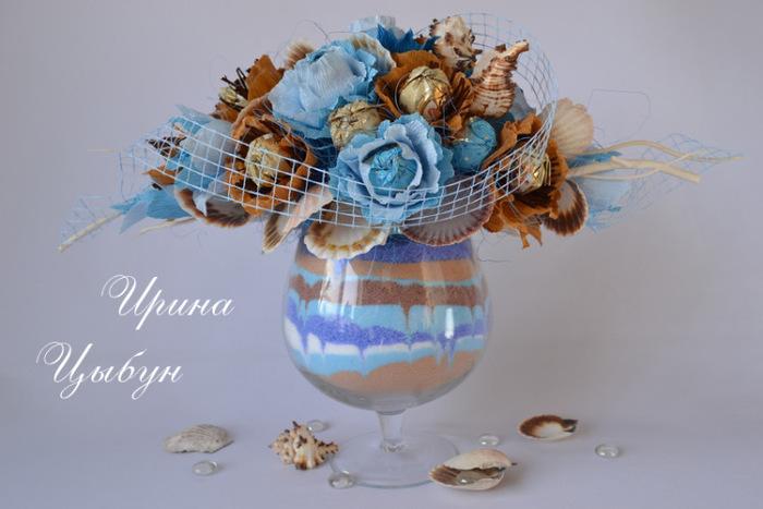 Букет из конфет в стеклянной вазе мастер