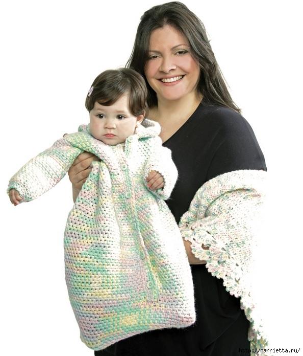 Спальный мешок с капюшоном для ребенка. Только выкройка (2) (594x696, 196Kb)
