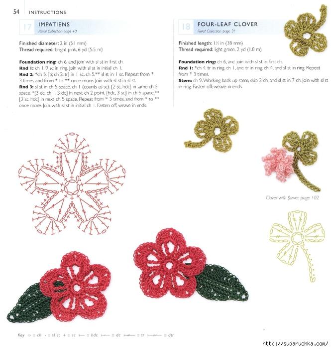Плоские цветы крючком схемы