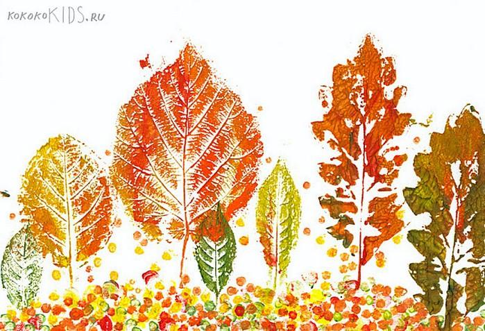 Рисуем листьями деревьев с детьми