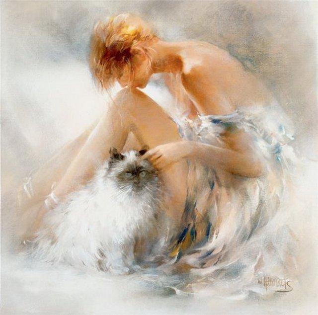 женщина и кошка  14 (640x634, 243Kb)