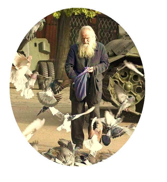 Дед кормит голубей (600x699, 513Kb)