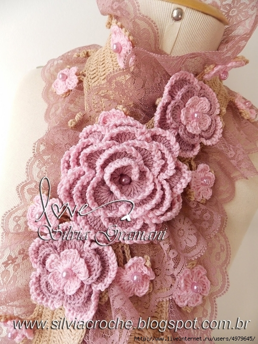 Silvia Gramani cachecol Deusa 2 tons de rosa flores (525x700, 355Kb)