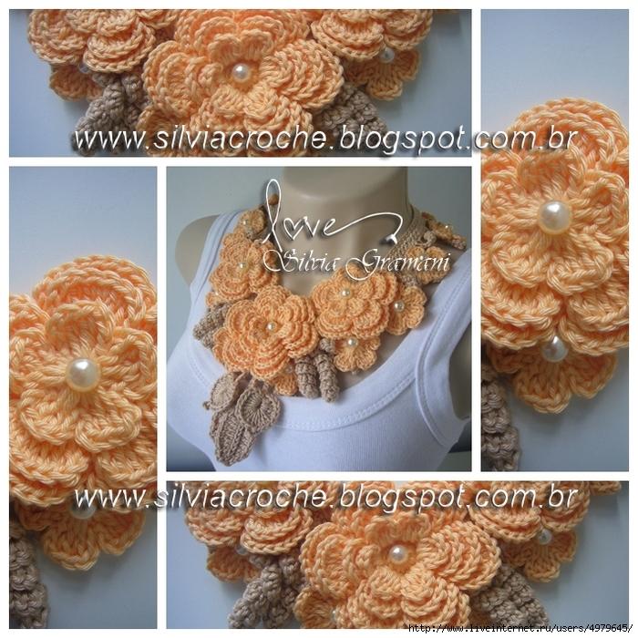 Silvia Gramani colar miss flor laranja e bege I (700x700, 427Kb)