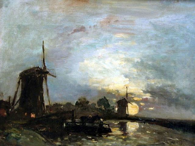 Clair de lune sur un canal, Hollande (640x480, 279Kb)