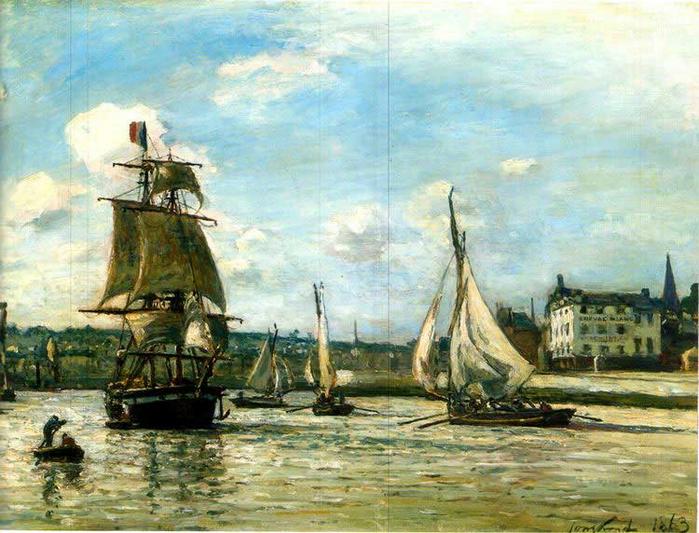 L\'entree du port d\'Honfleur - 1863 (700x533, 475Kb)