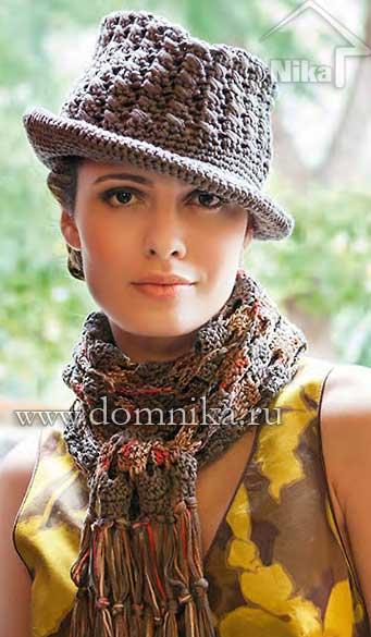 Шляпка и шарф связаны крючком.