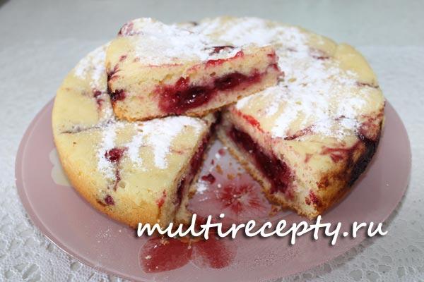 Вишнёвый пирог рецепт с фото в мультиварке
