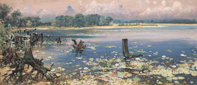 """2 """"На реке Козинке"""" (""""Лилии""""), 1970-е гг (650x282, 212Kb)"""