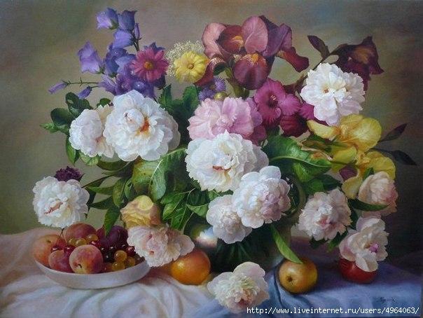 Раскраска по номерам Menglei Летнее разноцветие (40x50 см, холст).