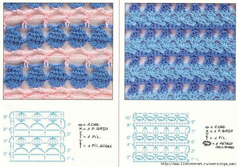 Ажурные двухцветные узоры крючком схемы и описание