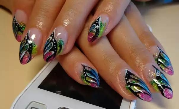 Гелевые ногти нарощенные ногти осень