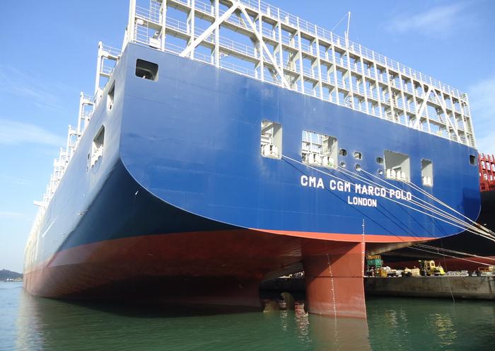 контейнеровоз CMA CGM Marco Polo фото 7 (700x496, 376Kb)