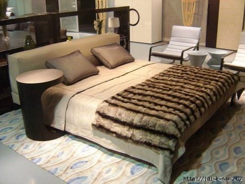 меховое покрывало на кровать фото