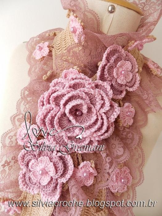 Silvia Gramani cachecol Deusa 2 tons de rosa flores (525x700, 323Kb)