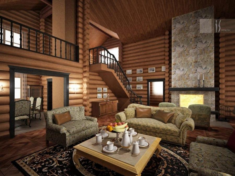 Интерьер домов из дерева фото