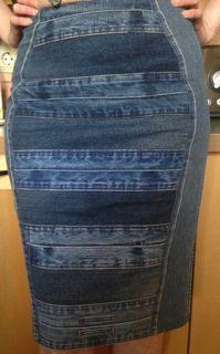 Как перешить джинсовую юбку из брюк