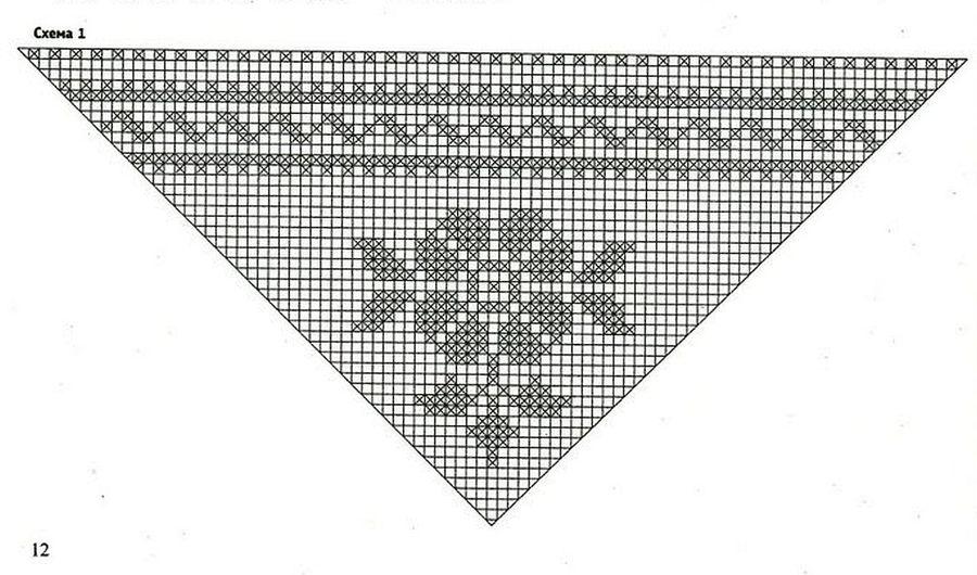 Филейное вязание схемы шаль 43