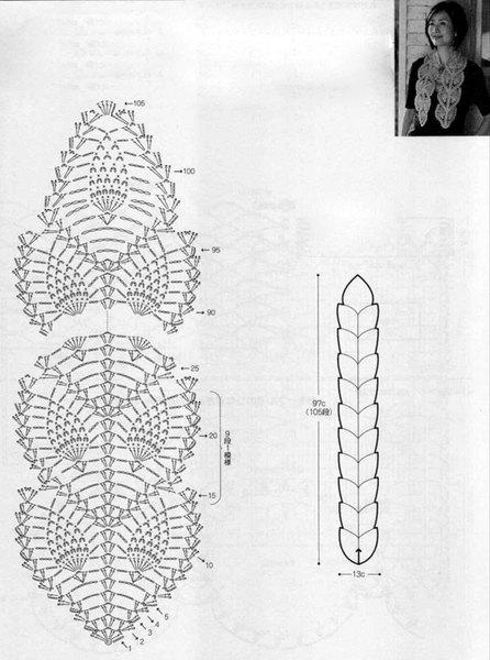 Японская схема-оригинал (слегка изменена...  Шарф связан на заказ.  Бордовая нить - восхитительная и нежная шерсть...