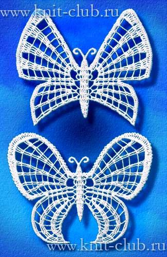Вязание бабочек крючком.