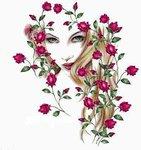 """Оригинал - Схема вышивки  """"Девушка и цветы """" - Схемы автора  """"vesnyshka63 """" - Вышивка крестом."""